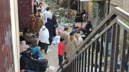 The queue for a hotel in Kabul where Norwich man Ashna Shinwari was instructed to go by the British embassy