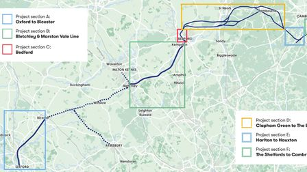 The proposed route for the East West Rail link.