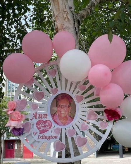 A shrine has been set up King's Square in memory of Ann Tricks, who was known as the Pink Lady of Islington