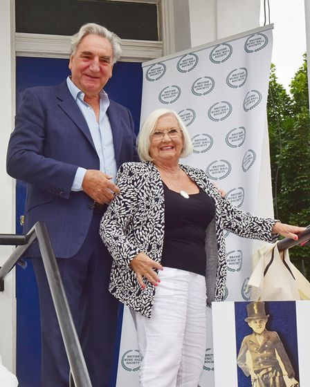 Jim Carter with whistler Sheila Harrod who performed a tribute to Ronnie Ronalde on the day