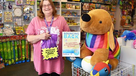 Sharon Cleary, owner of Toy Joy Oasis, supporting our Bouncing Back campaign.