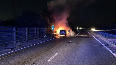 A vehicle was seen on fire on the A14 near Sproughton