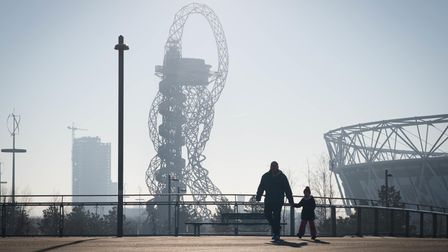 The ArcelorMittal Orbit attraction and the London Stadium at the Queen Elizabeth Olympic Park in Str