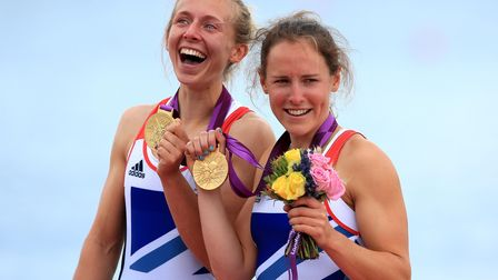 Great Britain's Sophie Hosking (right) and Katherine Copeland celebrate winning gold in the final of