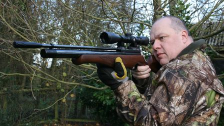 Gary Chillingworth shooting his S400 air rifle free-hand in woodland