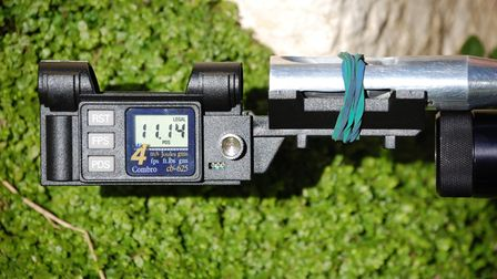 A close up image of a chronograph used to measure the speed of air rifle pellets