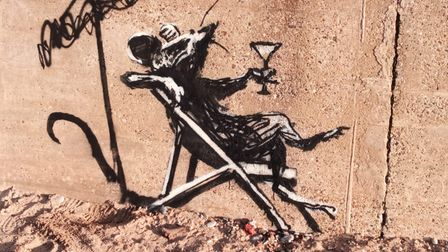 Street art depicting a rat drinking a cocktail has appeared at North Beach in Lowestoft.