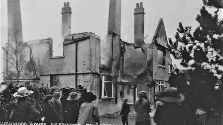 Roughwood House, Ricmansworth, destroyed by Suffragettes