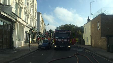 Fire engines in Belsize Lane on August 24