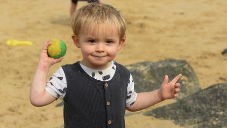 Stanley playing with a ball at Sea Palling. Picture: Danielle Booden