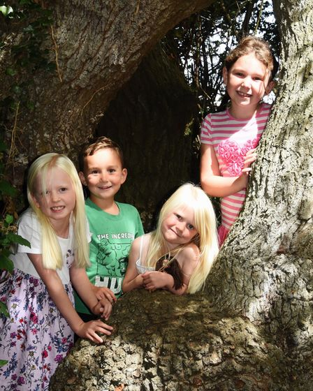 Out in the sunshine, siblings Lyla Sparkes, seven, left, and Edie, five; with friends Jack Kendrick,