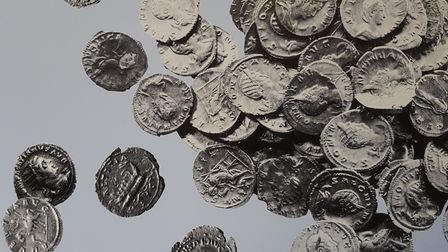 Pat of the coin hoard found at Chells Manor in 1986. Picture: Hertfordshire Archaeological Trust