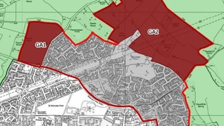 The GA1 and GA2 sites as earmarked in North Herts District Council's Local Plan. Picture: NHDC