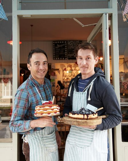 Greg and Massimo from the Haberdashery with some of their much-loved baking