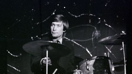 Charlie Watts of The Rolling Stones in action at Norwich Gaumont on April 25 1964.