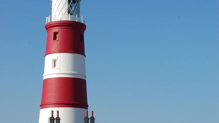 Happisburgh Lighthouse seen from the clifftop.