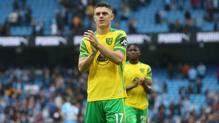 Milot Rashica of Norwich applauds the traveling support at the end of the Premier League match at th
