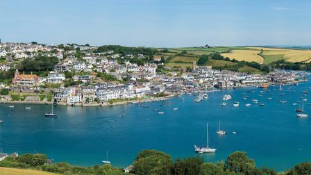 Aerial view of boats moored off Salcombe in Devon.