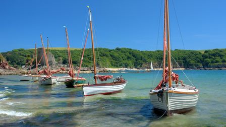 A line of four Salcombe Yawl boats on the shoreline in Salcombe, Devon.