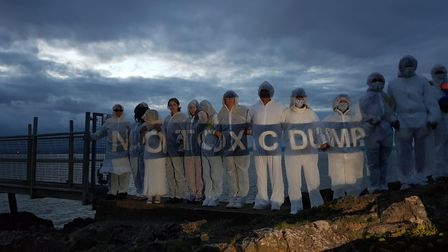 Local sea swimmers at Battery Point in Portishead on August 16 protesting Hinkley Point C mud dredging near Portishead.