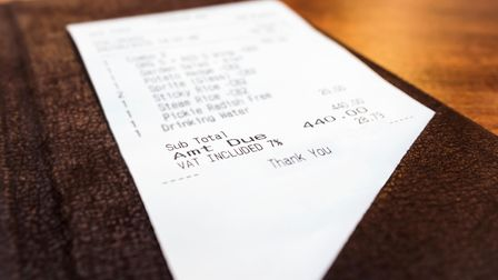 Receipt in folder perspective Business Shopping concept