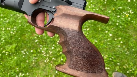 Close up of the grip on the Reximex Mito air pistol