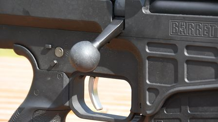 Close up of the bolt handle on the Barrett 98B Field rifle