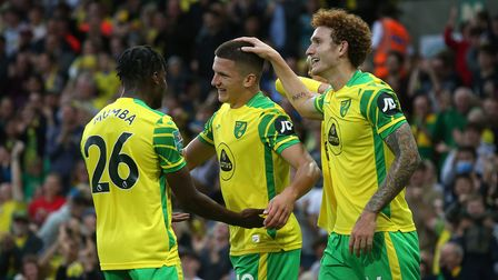 Christos Tzolis of Norwich celebrates scoring his sides 1st goal during the Carabao Cup Second Round