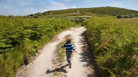 A country track on Bryher, Isles of Scilly, Cornwall.