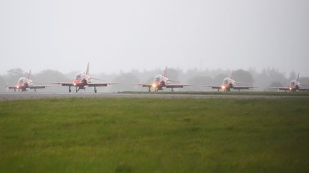 The Red Arrows arrive at Norwich Airport. Picture: DENISE BRADLEY