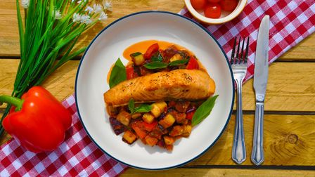 Salmon ratatouille with aubergine and courgette from Cheffortless, St Neots