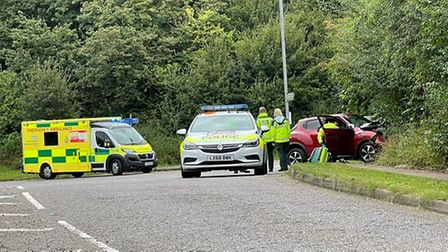 Police and ambulance services are on the scene of a crash in Redbourn Lane, near Harpenden