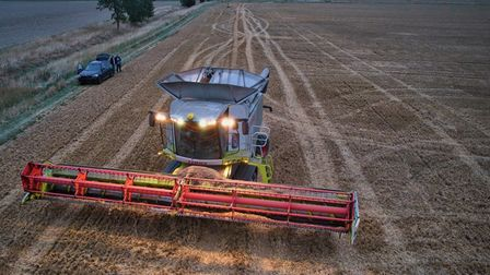 Jonathan Marshall took this photo of the harvest in action at Woodwalton.