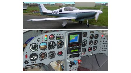 A FAST aircraft on split screen with a close up of its internal dashboard