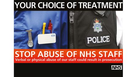 A flyer warning againstabuse of NHS staff at James Paget University Hospital.