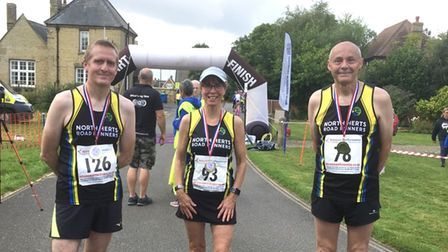 Richard Weber, Lucy O'Connor, and Brian Judkins of North Herts Road Runners at the Thorney 5-Miler.