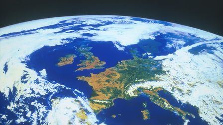 Europe seen from a satellite, circa 1980s. (Photo by Heritage Space/Heritage Images/Getty Images)