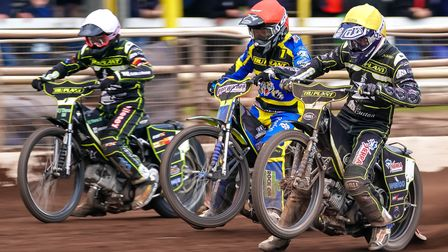 From the left Danny King, Troy Batchelor and Jake Allen race from the tapes in heat 10 at Owlerton