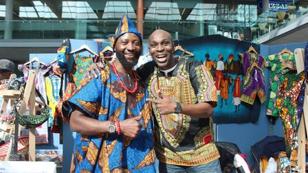Robert Salewon and Michael Gyapong at Norwich's African and Caribbean Market, at The Forum