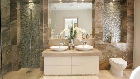 Cream and beige stone bathroom design from stoneCIRCLE in Basingstoke