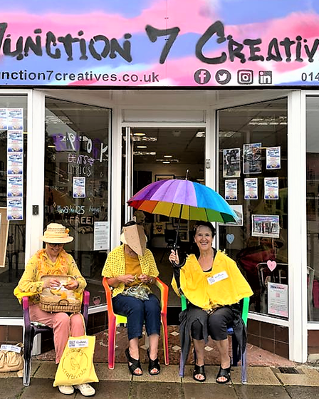 Canaries outside Junction 7 Creatives in Stevenage town centre