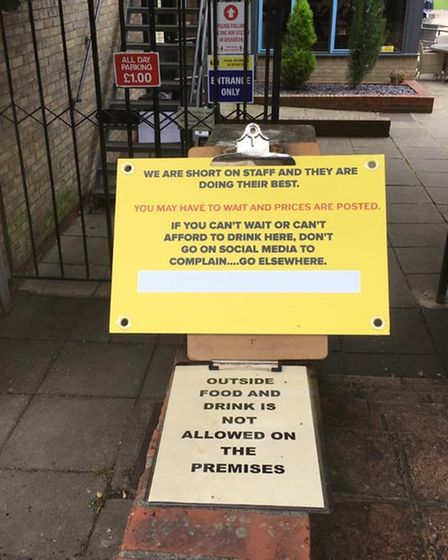 The sign that was left outside the Dolphin Hotel Cambridge.