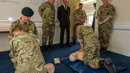 HRH The Duke of Kent KG watches a class of cadets conducting a First Aid lesson as he opens the new