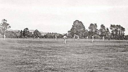 Cricket being played at Teignbridge - the view from the pavilion.