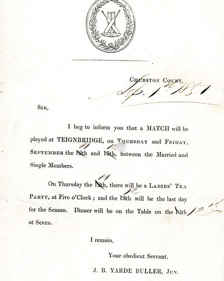 The secretary announces a match, and a ladies tea party, at the end of the 1851 season