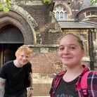 Ed Sheeran with Hampstead teenager Lily Taylor outside St Stephen's Church