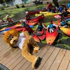 John the Lyon was cheering on the young kayakers at the Pirate Castle