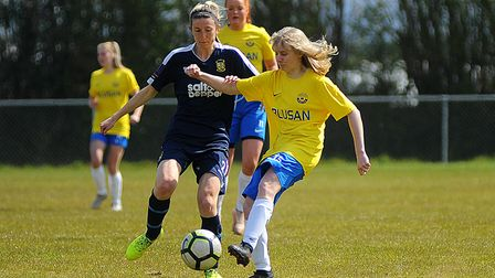 EllieBishop, one of the goal scorers in Torquay's 4-2 win over Liskeard, pictured last season playing against Buckland.