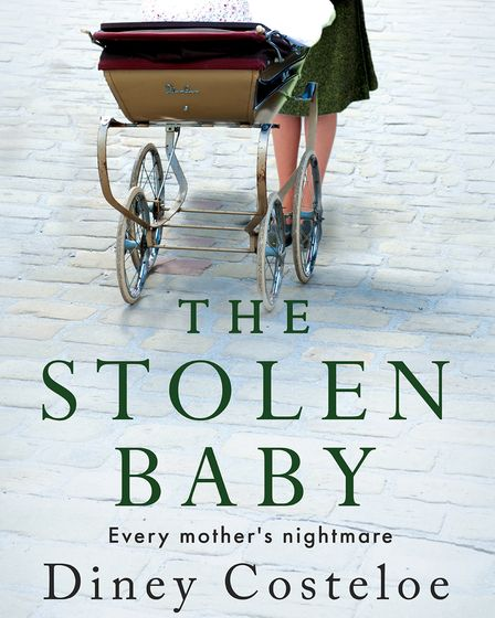 the cover for The Stolen Baby, above green writing, a woman pushes a pram