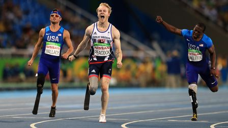 Great Britain's Jonnie Peacock celebrates winning Gold during the Men's 100m - T44 final during the